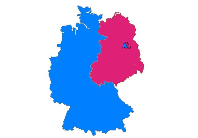 東西に分断されていたドイツ地図
