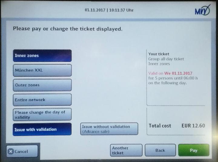 ミュンヘン 自動券売機 チケット決定 支払い