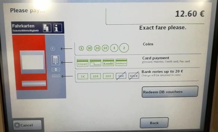 ミュンヘン 自動券売機 支払い画面