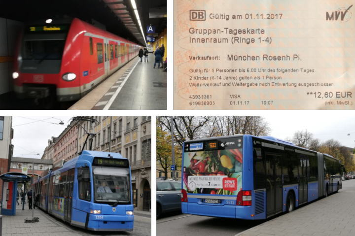 ミュンヘン公共交通機関と一日乗り放題チケット