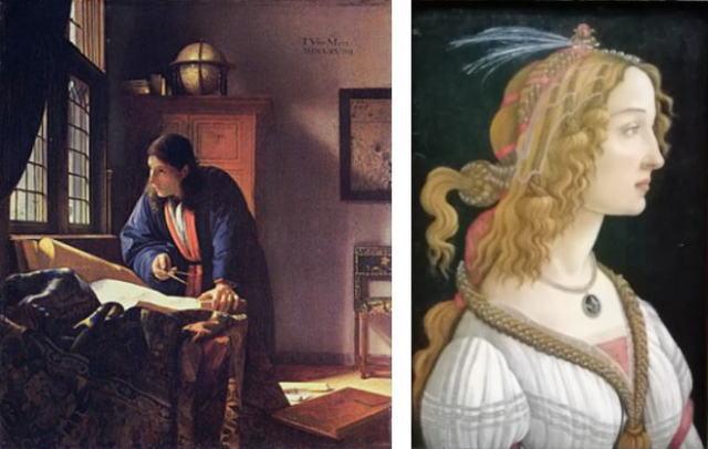フェルメール地理学者 ボッティチェリ女性理想像