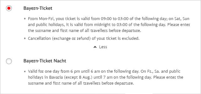 ドイツ鉄道DB バイエルンチケット選択