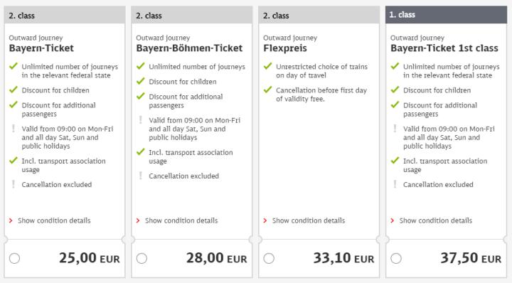 ドイツ鉄道DB 利用可能チケット