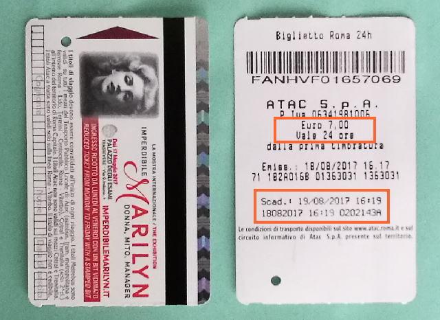 ローマ地下鉄メトロ 24時間チケット