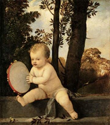 ティツィアーノ・ヴェチェッリオ タンバリンを演奏する子ども