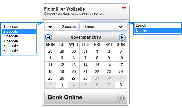 フィグルミュラー 予約画面 人数 予約日