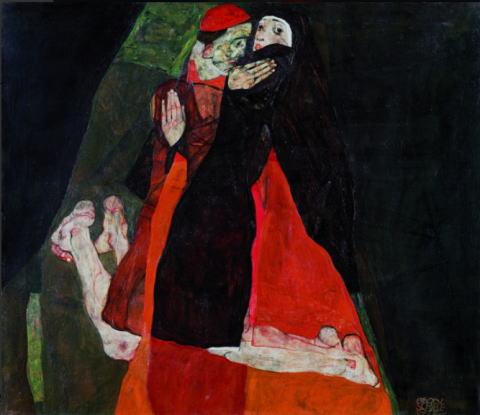 エゴン・シーレ「枢機卿と修道女」