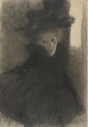 グスタフ・クリムト「ケープと帽子を着た女性」