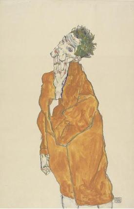 エゴン・シーレ「オレンジ色マントの自画像」
