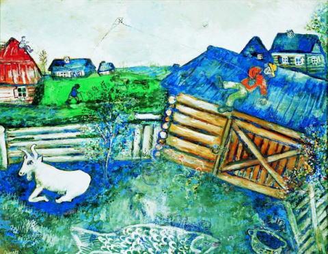 マルク・シャガール「村の風景」