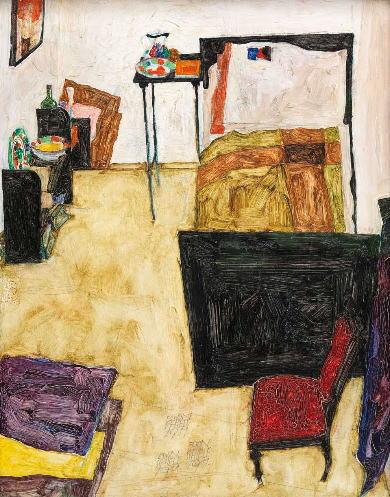 エゴン・シーレ「ノイレングバッハの画家の部屋」